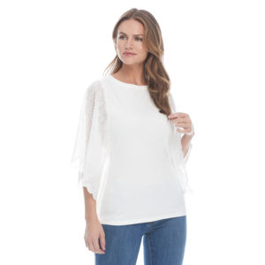 French Dressing Embroidered Fancy Lace Sleeve Top